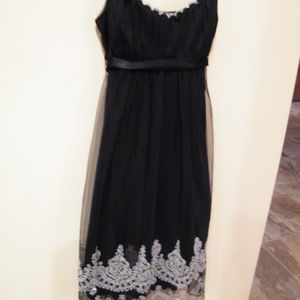 Teeze Me beaded Black Dress tulle Prom Cocktail S